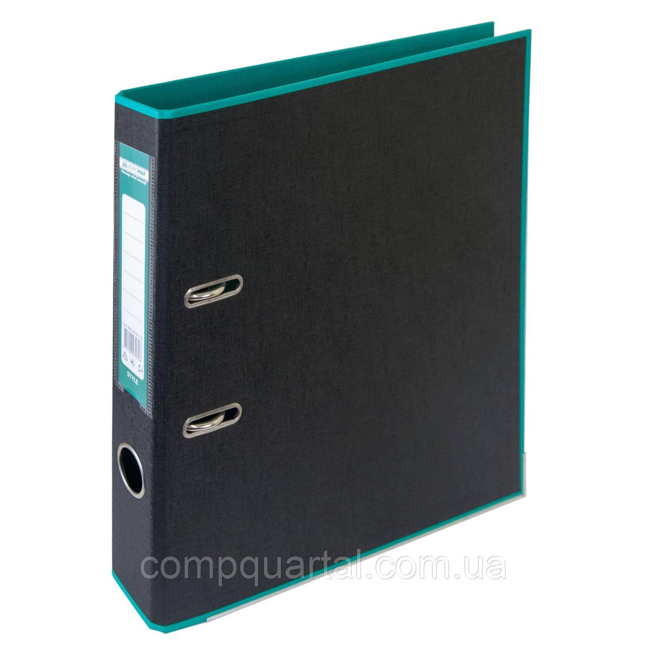 Папка-реєстратор А4 50мм BUROMAX 3006-06 STYLE двостороння бірюзова/чорна