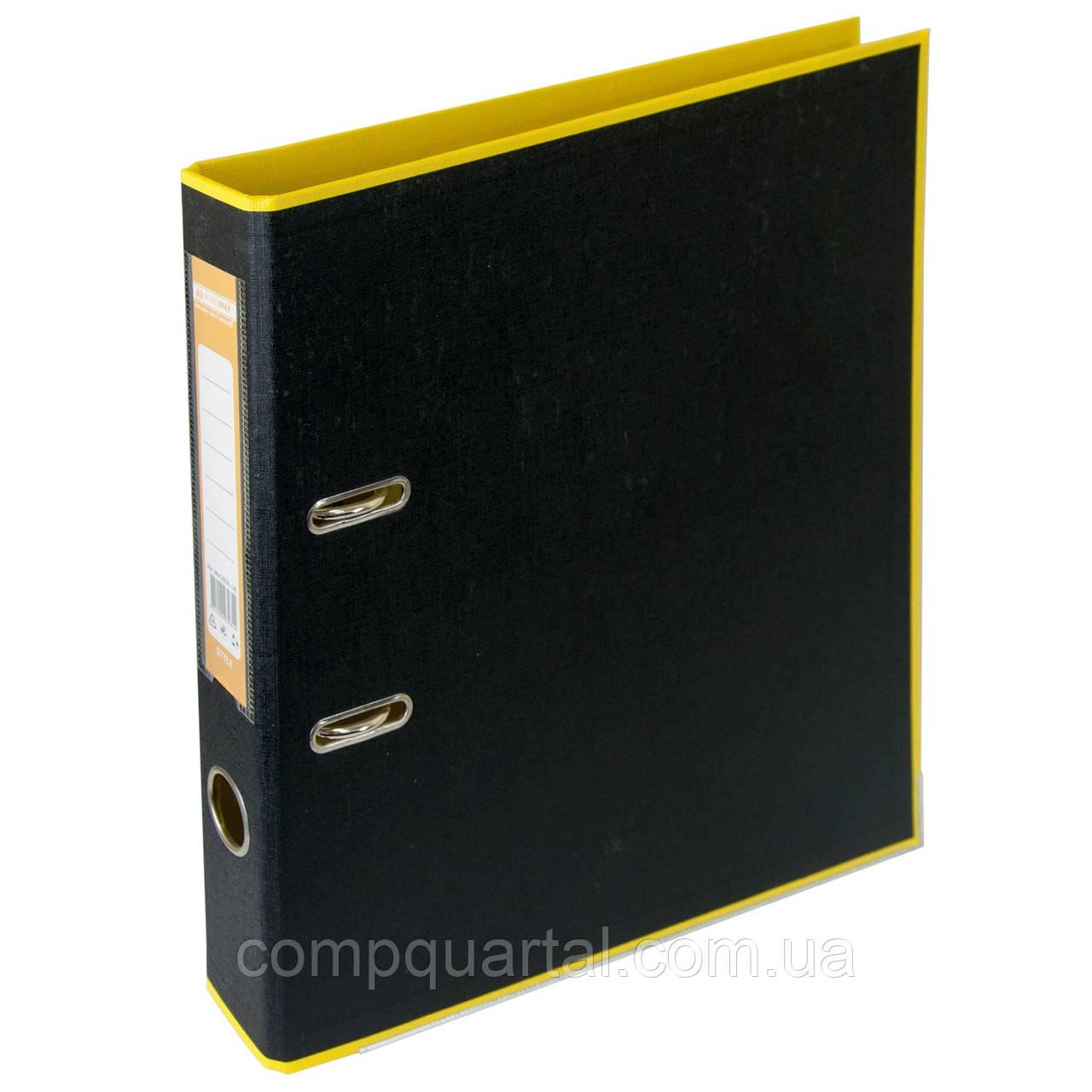 Папка-реєстратор А4 50мм BUROMAX 3006-08 STYLE двостороння жовта/чорна