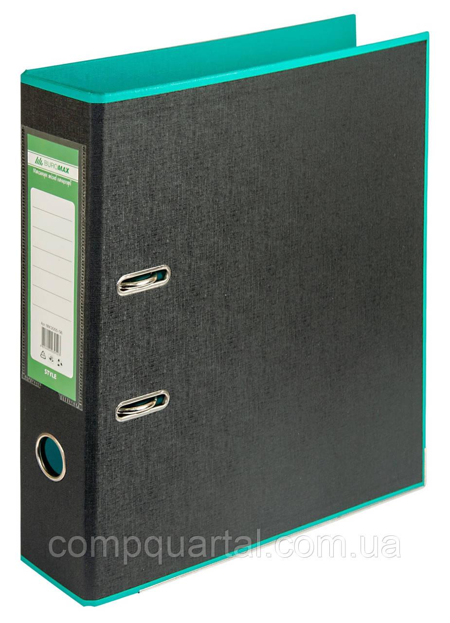 Папка-реєстратор А4 70мм BUROMAX 3005-06 STYLE двостороння бірюзова/чорна