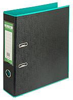 Папка-реєстратор А4 70мм BUROMAX 3005-06 STYLE двостороння бірюзова/чорна, фото 1