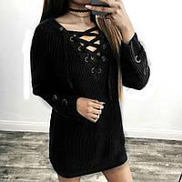 Женский удлинённый свитер туника с колечками на шнуровке черный, фото 1