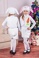 Детский карнавальный костюм белого зайчика с ушками, детские новогодние костюмы оптом