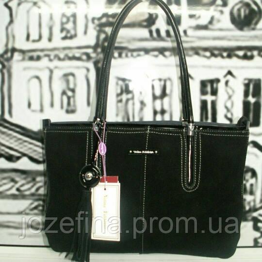 86a033e6b9cc Женская черная замшевая сумка