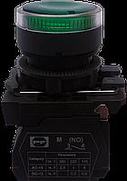 Выключатель кнопочный ВК011-НЦВИЛЗ (выступающая зелёная кнопка LED без фиксации) 1NО