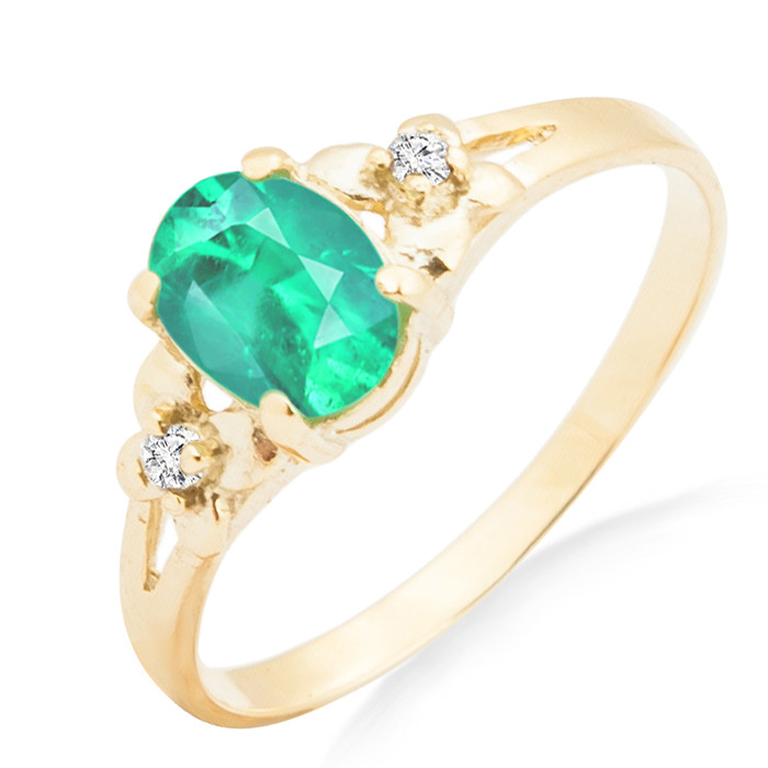 Золотое кольцо с изумрудом и бриллиантами 0,03 карат  продажа, цена ... 0ef0b802174