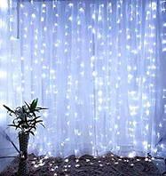 Гирлянда новогодняя штора водопад  LED светодиодная белая