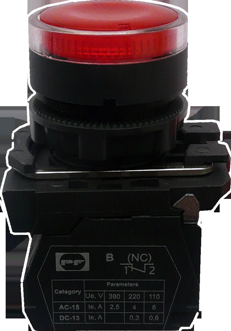 Выключатель кнопочный ВК011-НЦВИЛК (выступающая красная кнопка LED без фиксации) 1NС