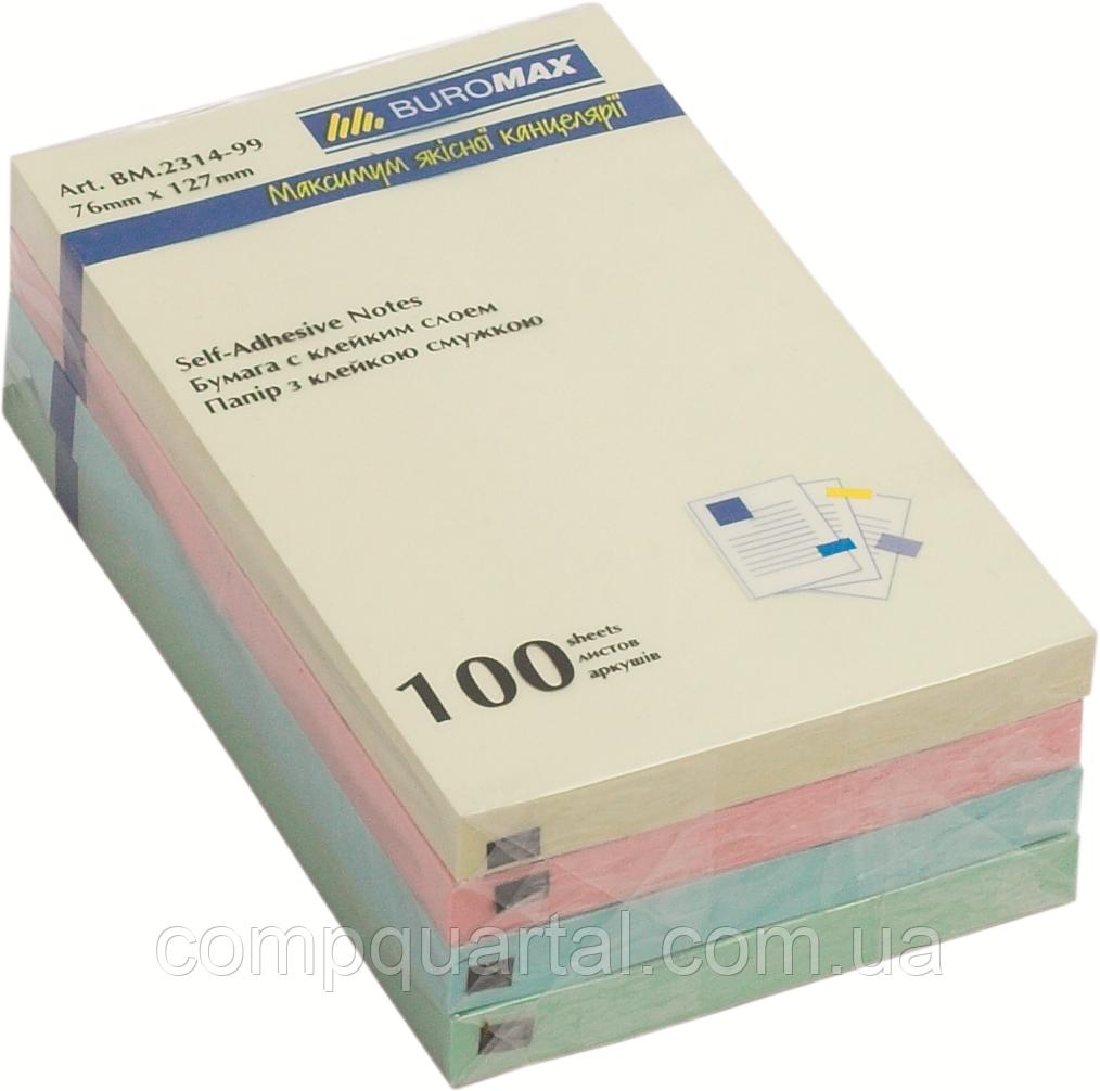 Папір для нотаток з клейкою смужкою ECONOMIX 20936 75Х75мм 100 аркушів 4 кольори Пастель