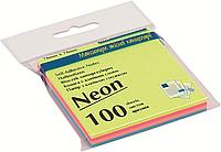 """Папір для нотаток з клейкою смужкою BUROMAX 2312-97 """"ДЕКОР"""" 76X76мм 100 аркушів, 4 кольори Неон"""