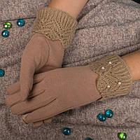 Женские перчатки телесного цвета для смартфона на меху Корона G7362-6 nude