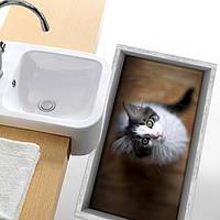 Паг 3d Антипробуксовочная водонепроницаемый маленький кот рисунок пола в ванной комнате душевая кабина наклейка стирать декор комнаты