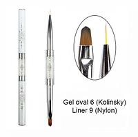 Кисть Komilfo Double Gel oval 6 (Kolinsky)/Liner 9 (Nylon)