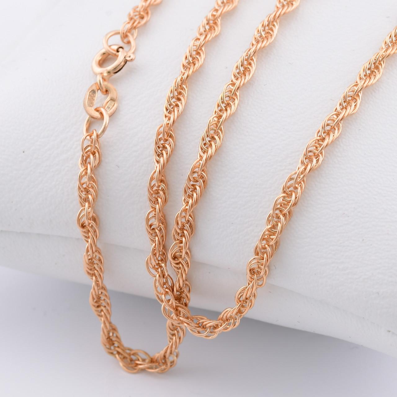 """Серебряная цепочка позолоченная """"Верёвочка"""", ширина 2.5 мм, вес 5.92 г, длина 45 см"""