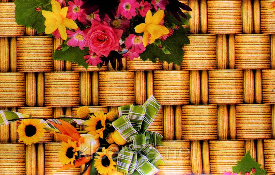 Клеёнка силиконовая с цветами на кухонный стол