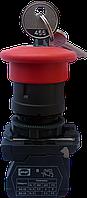 """Выключатель кнопочный ВК011-КГрКБ (красная кнопка """"грибок"""" с фиксацией и ключом) 1NС"""
