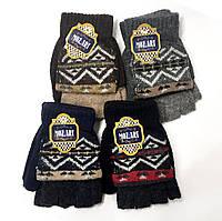 Шерстяные перчатки подростковые MOZART с пристегивающейся варежкой. Цвета разные. Геометрический рисунок