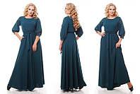 Женское нарядное платье длинное в пол Вивьен цвет изумруд / размер 48-50, 52-54, 56-58
