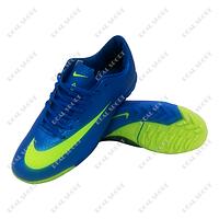 Обувь футбольная бампы (сороконожки) Nike Mercurial FB20-3Blue/Neon (р-р 36-41, синий)