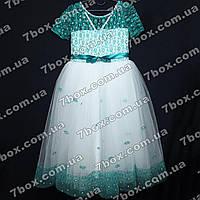 Детское нарядное платье бальное Миледи (бирюзовый+белый) Возраст 7-9 лет. , фото 1