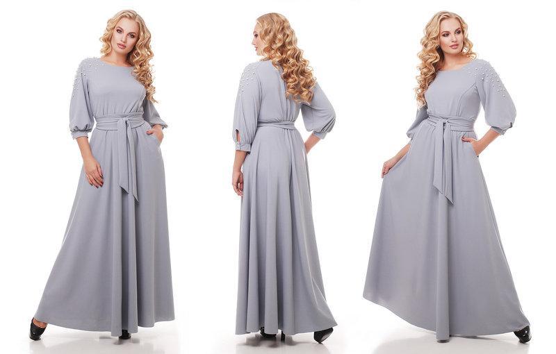 Женское нарядное платье длинное в пол Вивьен цвет жемчуг / размер 52-54, 56-58