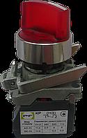 Выключатель кнопочный ВК011-ПР31ИЛК (красный переключатель 3-х позиционный LED с фиксацией) 2NО