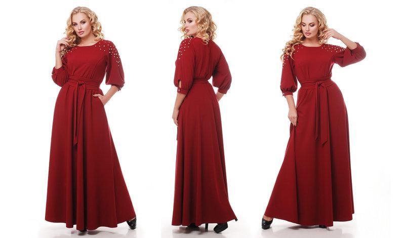Женское нарядное платье длинное в пол Вивьен цвет бордо / размер 48-50, 52-54, 56-58