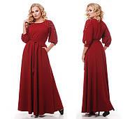 Женское нарядное платье длинное в пол Вивьен цвет бордо / размер 48-50, 52-54, 56-58 , фото 2