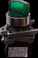 Выключатель кнопочный ВК011-ПР21ИЛЗ (зелёный переключатель 2-х позиционный LED с фиксацией) 1NО