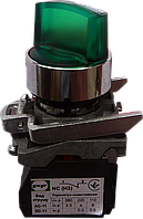 Выключатель кнопочный ВК011-ПР31ИЛЗ (зелёный переключатель 3-х позиционный LED с фиксацией) 2NО