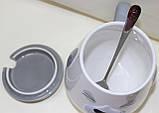 Кружка керамическая с крышкой и ложкой, серая Собака, фото 3