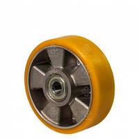"""Колесо """"алюминий/ желтый полиуретан"""" D 100 мм без кронштейна"""