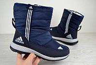 Женские зимние дутики Adidas синие 2493