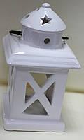 Керамический белый Фонарь-подставка под свечки-таблетки