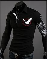 Мужская кофта, свитер черного цвета с принтом летящего орла на спине