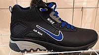 Кожаные мужские зимние кроссовки Nike AIR MAX ,черные