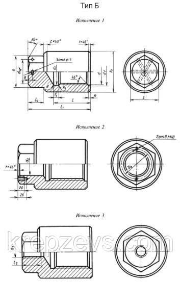 Схема габаритных размеров гайки ГОСТ 9064-75 типа В