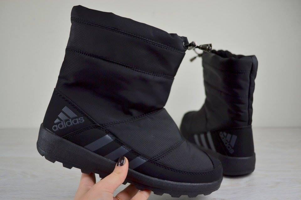 21a8c7ca4737 Женские зимние дутики Adidas Адидас черные 2492 - Интернет Магазин