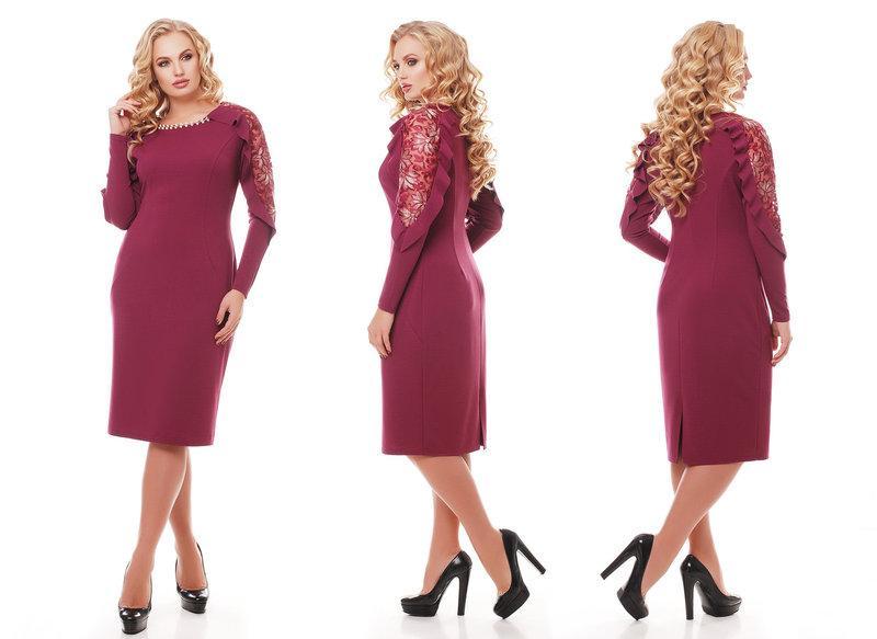 Женское нарядное платье Рамина цвет марсала / размер 54