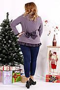 Женская блуза с рюшам цвет бисквит 0689 / размер 42-74, фото 4