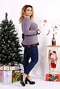 Женская блуза с рюшам цвет бисквит 0689 / размер 42-74, фото 2