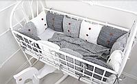 Комплект вязаных бортиков в кроватку, серый