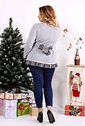 Женская блуза с рюшам цвет серый 0689 / размер 42-74, фото 4