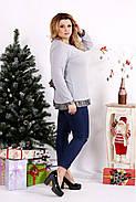 Женская блуза с рюшам цвет серый 0689 / размер 42-74, фото 2