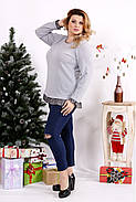 Женская блуза с рюшам цвет серый 0689 / размер 42-74, фото 3