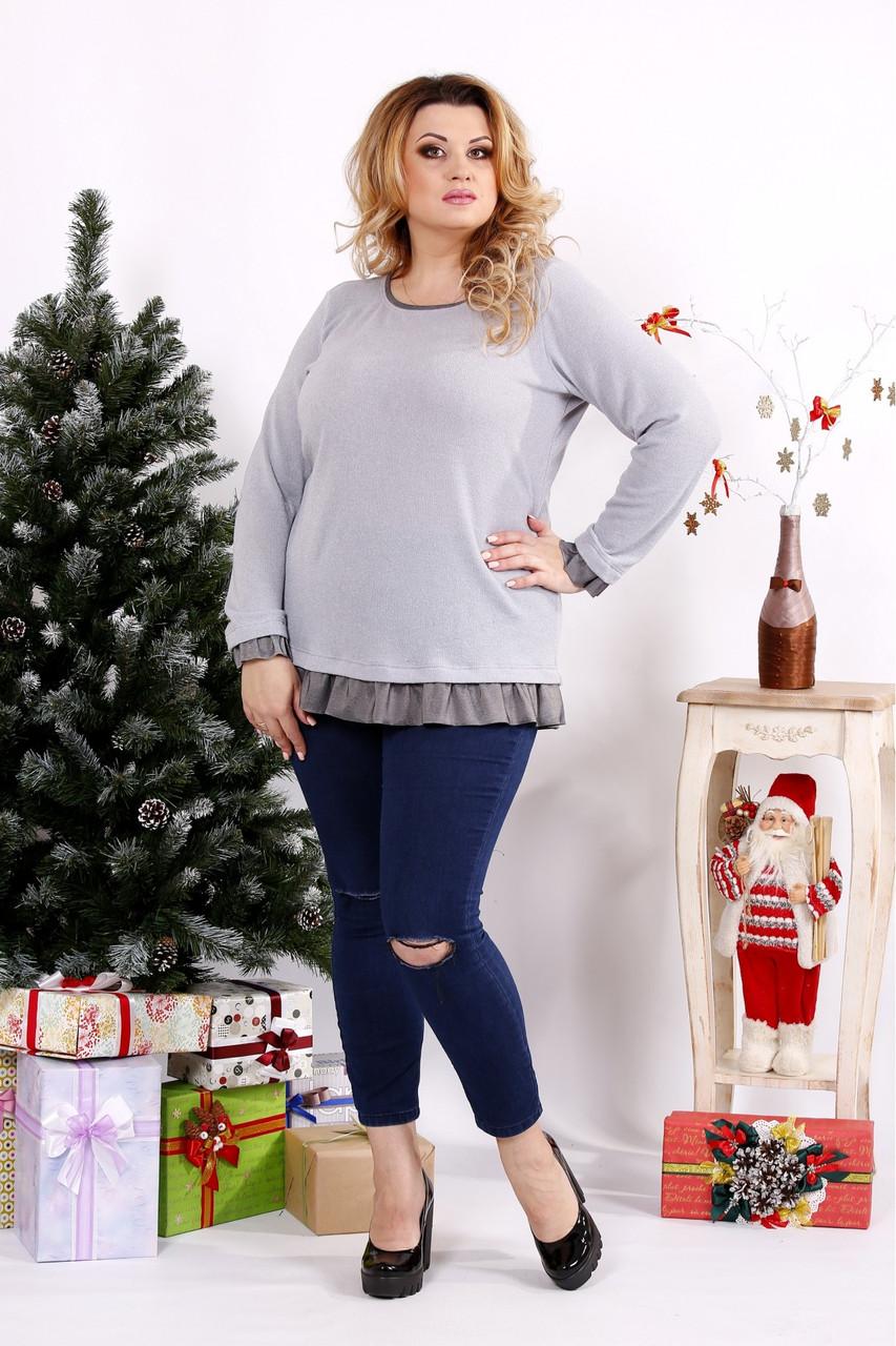 Женская блуза с рюшам цвет серый 0689 / размер 42-74
