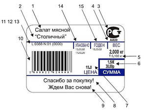 Весы торговые с печатью этикетки ШТРИХ-Принт 4.5 (2 Мб) до 15 кг, фото 3