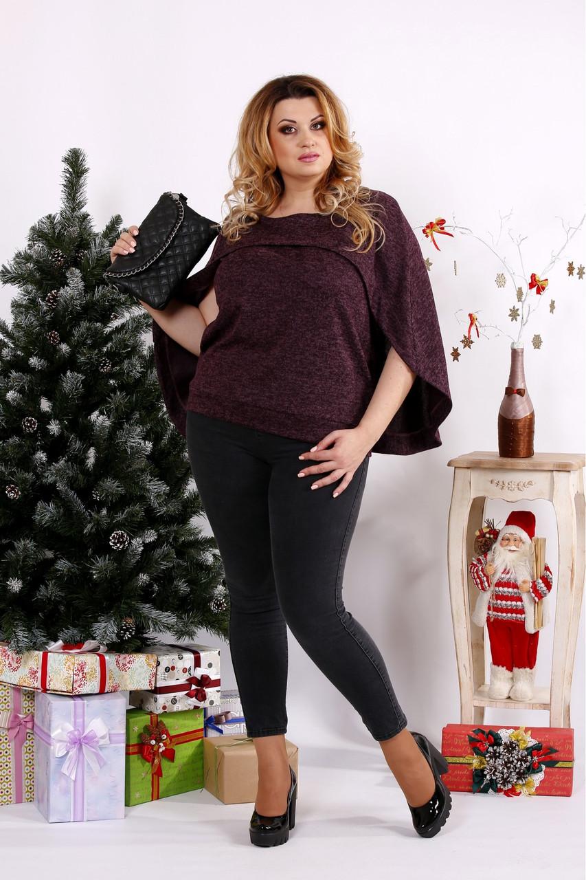 Женская блуза из ангоры 0679 / размер 42-74 / цвет баклажан