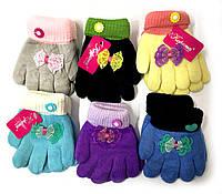 Детские двойные перчатки Корона. Цвета разные с бантиком. Двойная вязка. Размер S