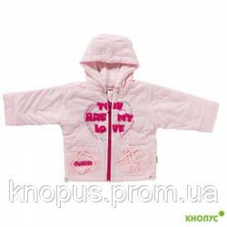 """Демисезонная курточка на флисе """"Сердечки"""" розовая, JANMAR, Польша"""