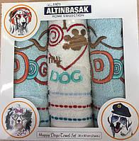 """Набор кухонных махровых полотенец с вышивкой 30х50 """"Altinbasak"""" Dog 3 шт"""